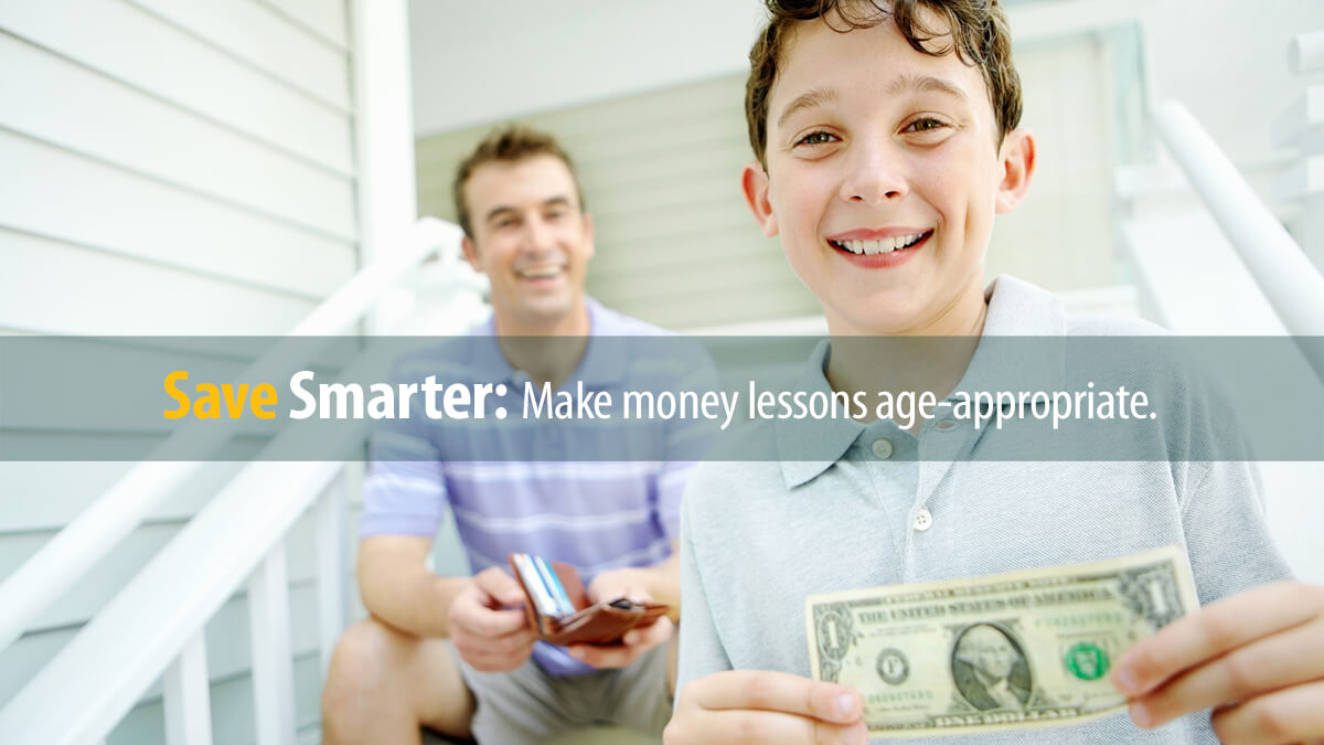 Father teaches his son about saving and spending money with an allowance.